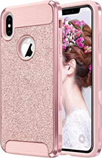 """ULAK iPhone Xs Max Case, Sparkly Glitter Bling Slim Shockproof Protective Shiny Girl Women Faux Leather Soft TPU Bumper & Hard PC Phone Cover for Apple iPhone Xs Max 6.5"""", Rose Gold"""