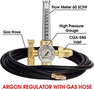 MANATEE Argon Regulator TIG Welder MIG Welding CO2 Flowmeter 10 to 60 CFH - 0 to 4000 psi pressure gauge CGA580 inlet Connection Gas Welder Welding Regulator More Accurate Gas Metering Delivery System