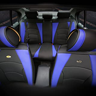 FH Group PU205115 Ultra Comfort Leatherette Seat Cushions, Blue/Black Color - Fit Most Car, Truck, SUV, or Van