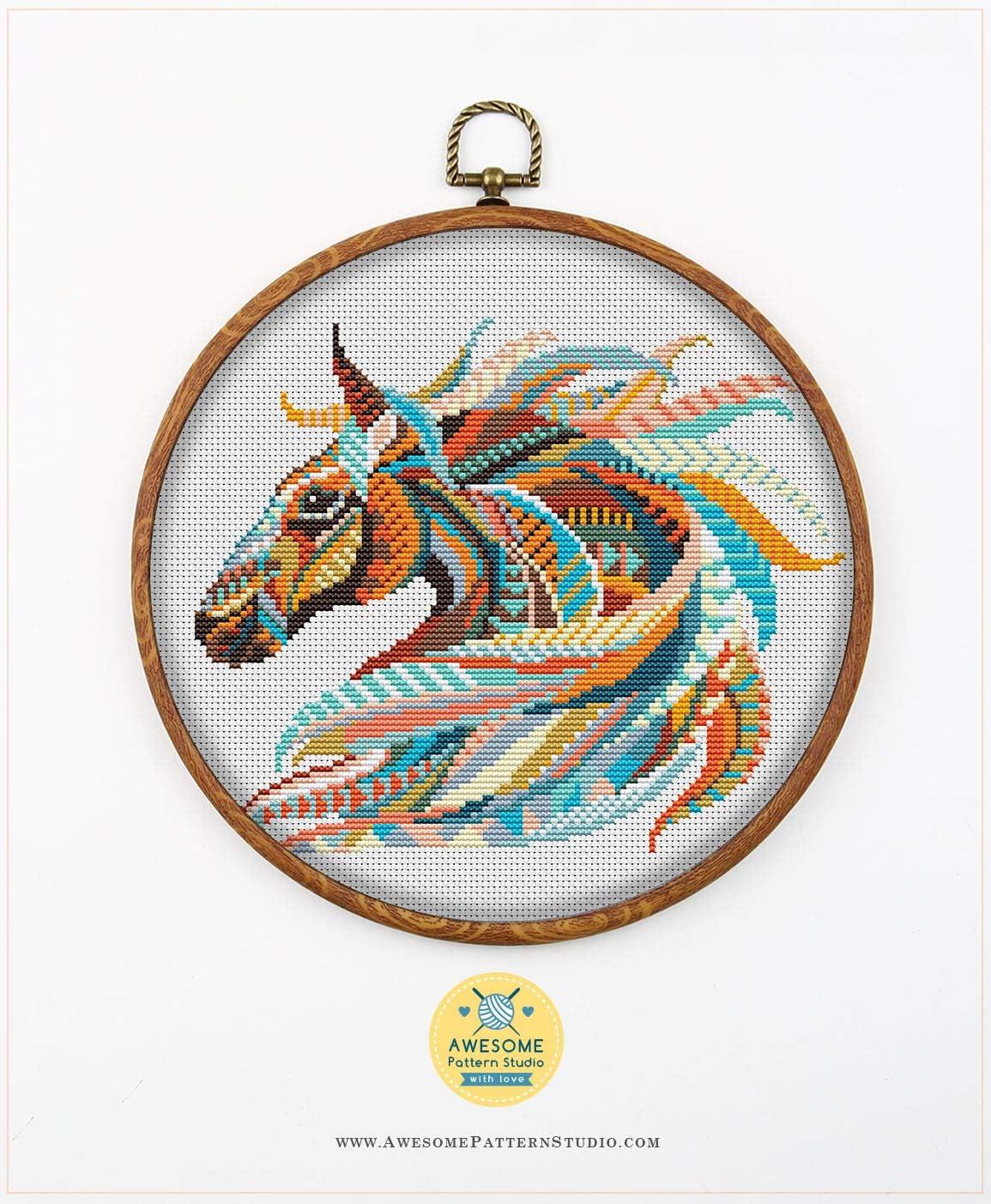 Cross Stitch Patterns Cross Pattern Stitch Patterns  Cross Designs Mandala Horse #P44 Cross Stitch Embroidery Pattern Instant Download