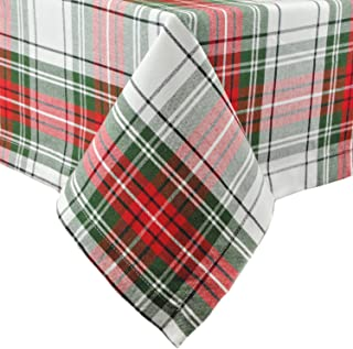DII Christmas Plaid Square Tablecloth, 100% Cotton with 1/2