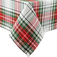 DII Christmas Plaid Collection Tablecloth, 60x104, Red & Green
