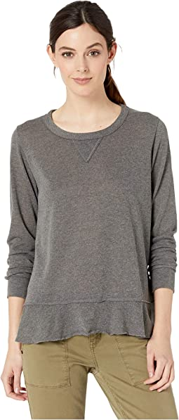 Heathered Sweater Long Sleeve Tee with Flounce Hem