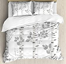 Ambesonne Birch Tree Duvet Cover Set, White Branches with Leaves Autumn Nature Forest Inspired Image Print, Decorative 3 Piece Bedding Set with 2 Pillow Shams, Queen Size, White Grey
