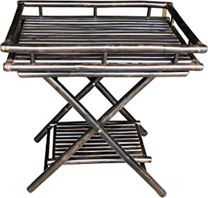 Statra Bamboo Butler Table With Removable Serving Tray, Espresso