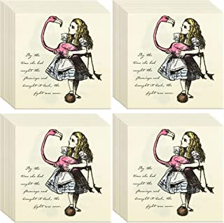 Talking Tables Truly Alice 13 Alice in Wonderland Mad Hatter Party Paper Napkins for a Tea Party or Birthday (40 Pack)