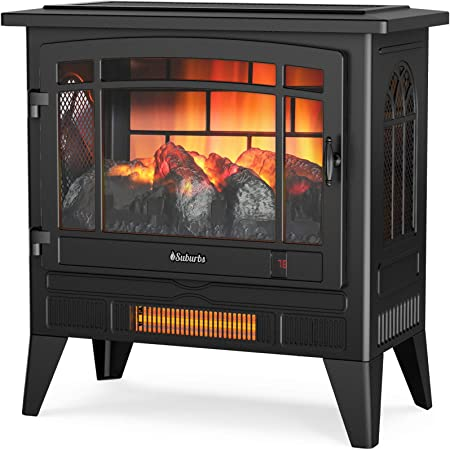 "TURBRO Suburbs TS25 Electric Fireplace Infrared Heater - Freestanding Fireplace Stove with Adjustable Flame Effects, Overheating Protection, Timer, Remote Control - 25"" 1400W Black"