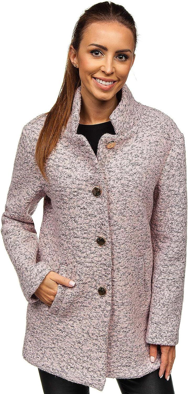 BOLF Damen Mantel Trenchcoat One Size Übergangsmantel Cardigan Casual Elegant Modellauswahl Rosa_6011-1