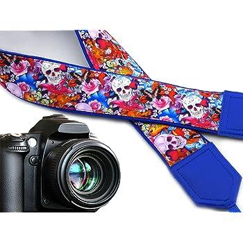 Code 00293 Sugar Skulls Camera Strap Halloween Camera Strap DSLR Camera Strap and Golden Fish Skulls and Roses