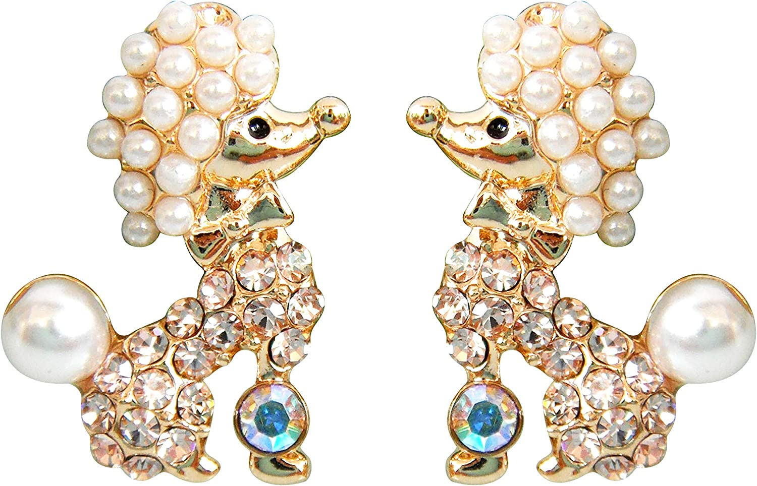Navachi 18k Gold Plated Crystal Pearl Dog Poodle Stud Earrings