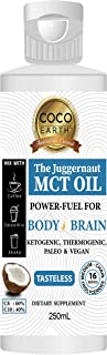 COCO EARTH The Juggernaut MCT Oil 250ml - unflavoured   Perfect MCT oil for Keto bullet coffee, 250ml 250 milliliters