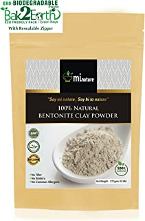 mi nature Fuller's Earth - Natural Multani Mitti Powder (Healing Clay) (Bentonite Clay) (100% Natural & pure) for skin care & hair care in oxo/biodegradable resealable zip lock pouch