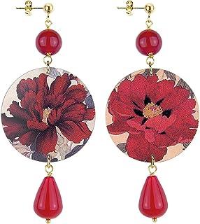 IN Lebole Collezione The Circle DOR11 Fiore Rosso Orecchini da Donna in Ottone Pietra Rubino