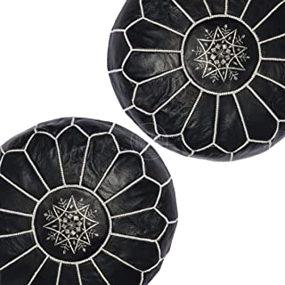 set of 2 Moroccan leather pouf, handmade ottoman poof for living room furniture and home decor, floor footstool hassock, boho round chair foot rest stool pouffe, black Unstuffed