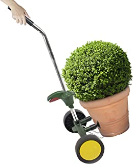 CLEVER GARDEN Plant Pot Caddy, Heavy Duty Flower Mover with Flat Free Wheels and Adjustable Handle, 165 Pound Weight Capac...