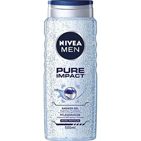 NIVEA Men Body Wash, Pure Impact with Purifying Micro Particles, Shower Gel for Body, Face & Hair, 500 ml