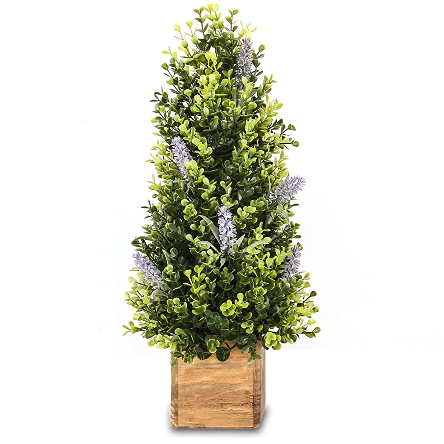 Jusdreen 20 Inch Spring Artificial Flower Potted Lavender Plants Bonsai Tree Ornaments for Bathroom/Home Decor Table Window Decorations Fake Plant Wooden Tray