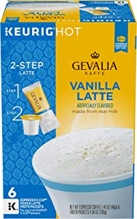 Gevalia Vanilla Latte Espresso Keurig K Cup Coffee Pods & Froth Packets (36 Count, 6 Boxes of 6)