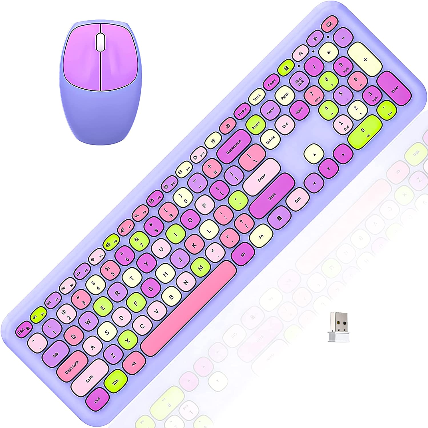 Colorful Wireless Keyboard and Mouse Combo, Cordless Full-Sized Computer Keyboard with Number Keypad,2.4Ghz USB Receiver,Energy Saving,Battery Powered for Laptop/Computer/PC/Desktop (Lilac)