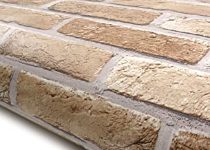 ROSEROSA Peel and Stick PVC Faux Brick Decorative Instant Self-Adhesive Covering Countertop Backsplash Sharon Brick (GM726 : 2.00 Feet X 6.56 Feet)
