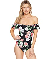 Vince Camuto - Tropical Ruffle Bandeau One-Piece Swimsuit