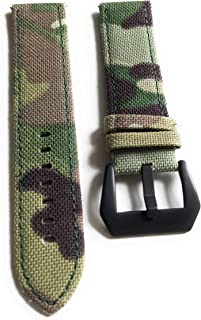 2 Piece 22mm Military Style Watch Band Strap - Light Green Camo with Black Buckle and Quick Release Pins - Camouflage Canvas with Lorica Leather Inner Liner, Stainless Steel Buckle