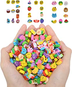 300PCS Mini Pencil Erasers,Fruits Animals Numbers Cakes Smiling Faces Assorted Novelty Erasers for Student Prize Homework Awards Party Gifts School Supplies