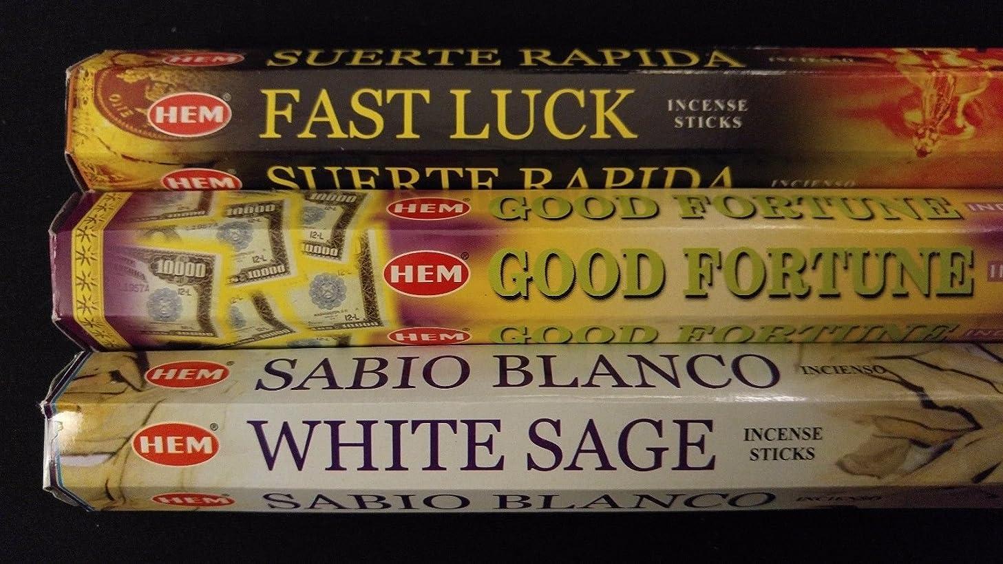 トースト変わるポスターFast Luck Good Fortuneホワイトセージ60裾Incense Sticks 3香りサンプラーギフトセット