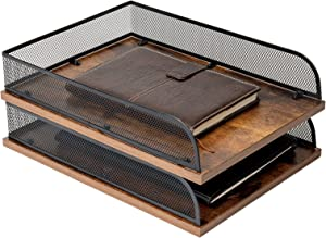 Set of 2 Vintage Wood & Metal Letter Tray,Desk Organizers Paper Tray,Office File Organizer(Black)