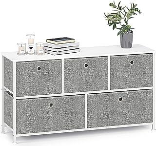 Byrå smal skåp med 5 lådor i tyg tv skåp sidobord skåp metall för kök vardagsrum sovrum kontor hall lågt skåp stål trä vit...