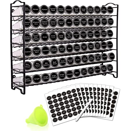 SWOMMOLY Spice Rack Organizer with 72 Empty Square Spice Jars, 340 Spice Labels with Chalk Marker and Funnel Complete Set,for Countertop,Cabinet or Wall Mount