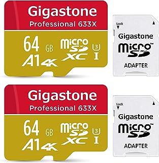 【5年保証 】Gigastone Micro SD Card 64GB マイクロSDカード UHS-I U3 Class 10 100MB/S 高速 micro sd カード Nintendo Switch 動作確認済 2個セット SD変換アダ...