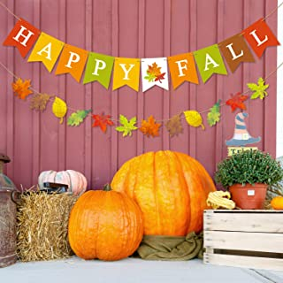 Happy Fall Banner Maple Leaves Garland Seasonal Festive Home Decoration for Mantle Halloween Thanksgiving Day Bunting Sign Fall Party Supplies