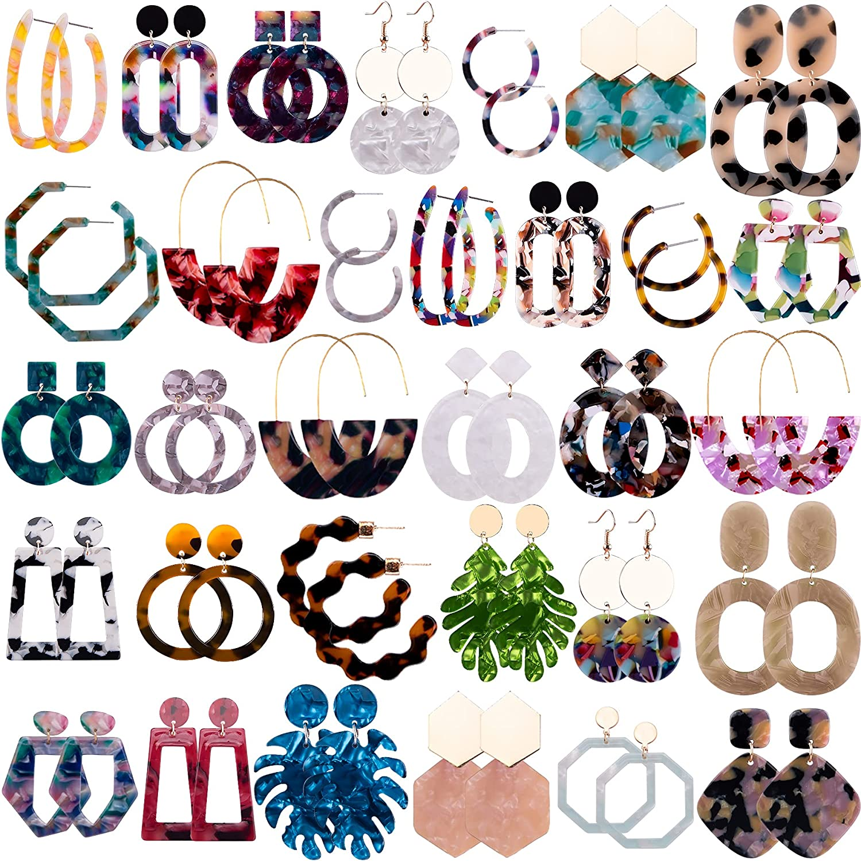 Duufin 32 Pairs Acrylic Earrings Mottled Acrylic Hoop Earring Resin Drop Dangle Earrings Polygonal Bohemian Earrings for Women Girls