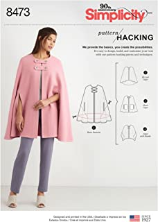Simplicity Creative Patterns US8473A Misses' Capes with Options for Design Hacking Pattern, A (XS-S-M-L-XL)