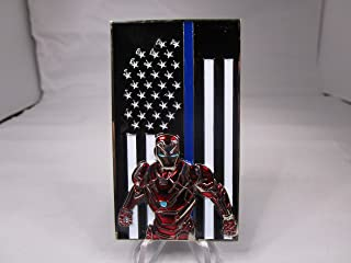 Police and Law Enforcement Iron Man Thin Blue Line in Memory of Our Fallen Brothers Challenge Coin