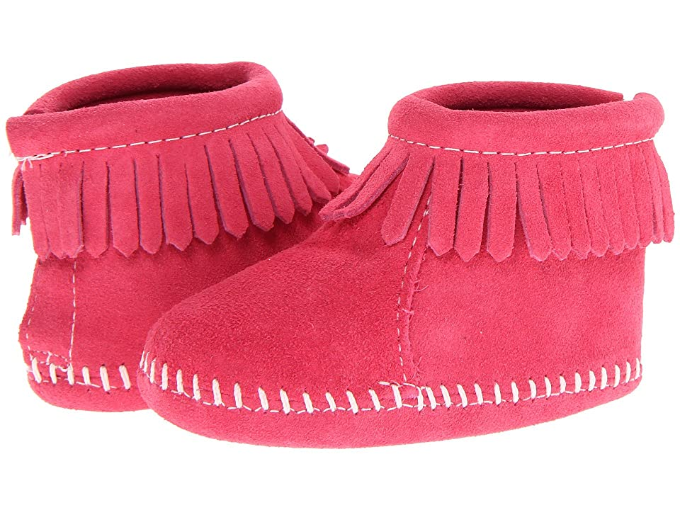 Minnetonka Kids Suede Back Flap Bootie (Infant/Toddler) (Pink Suede) Kids Shoes