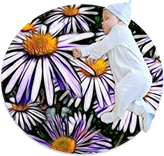 Vacker krysantemum, barn rund matta polyester överkast matta mjuk pedagogisk tvättbar matta barnkammare tipi tält lekmatta