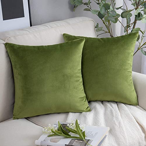 high quality Phantoscope 2021 Pack of 2 Velvet Decorative Throw Pillow Covers Soft Solid Square Cushion Case for Couch Green 18 x 18 inches 45 x lowest 45 cm outlet sale