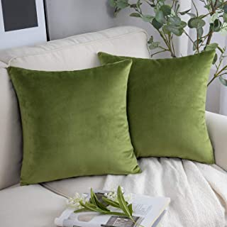 Phantoscope Pack of 2 Velvet Decorative Throw Pillow Covers Soft Solid Square Cushion Case for Couch Green 18 x 18 inches ...