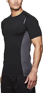 تي شيرت Reebok رجالي للتمرين بالضغط - جزء علوي شبكي قصير الأكمام لممارسة الرياضة والتدريب