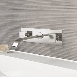 VIGO VG05002BN Titus Two Handle Wall Mount Bathroom Faucet, Brushed Nickel Lavatory Faucet, Unique Plated 7 Layer Finish with Matching Pop Up Included