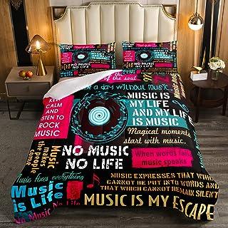 Erosebridal Music Notes Comforter Set Full Size, Jazz Music Down Comforter for Kids Boys Girls Teens Man, Hip Hop Graffiti...