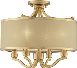 "Nor Ceiling Light Semi Flush Mount Fixture Antique Brass 18"" Wide 4-Light Gold Organza Shade for Bedroom Kitchen Living Room Hallway Bathroom - Possini Euro Design"