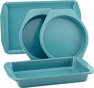 Paula Deen 46653 Speckle Nonstick Bakeware Set with Baking Pan, Cake Pans and Cookie Sheet / Baking Sheet - 4 Piece, Gulf Blue Speckle