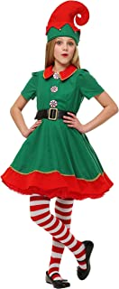Child Holiday Elf Costume Dress and Hat Elf Costume for Girls