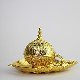 Bakhoor BoSidin - Incense Sick Holder Burner Golden Metal Leaf Design - Z0517