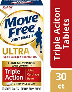 Move Free Type II Collagen, Boron & HA Ultra Triple Action, Joint Health Supplement, 1 Pill Per Day to Promote Joint, Cartilage, and Bone Health, 30 Count