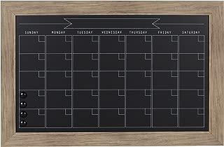 DesignOvation Beatrice Framed Magnetic Chalkboard Monthly Calendar, 18x27, Rustic Brown