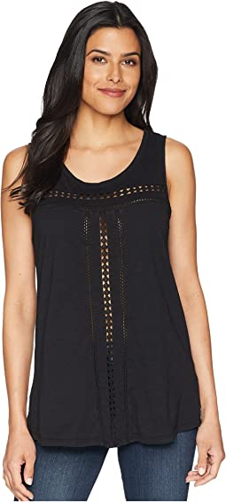 Slub Jersey Swingy Tank Top with Lace Trim